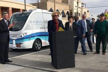 უპილოტო ავტობუსი პირველივე დღეს ავარიაში მოყვა