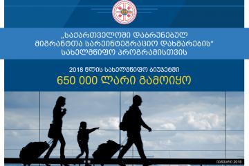 საქართველოში დაბრუნებულ მიგრანტთა რეინტეგრაციის მიზნით სახელმწიფო ბიუჯეტში 650 000 ლარი გამოიყო