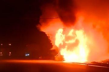 რიკოთის უღელტეხილზე სამგზავრო ავტობუსს ცეცხლი გაუჩნდა