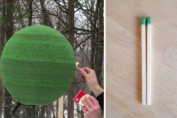 42,000 ასანთის ღერისგან შექმნილი გიგანტური ბურთი