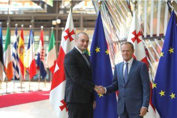 საქართველოს პრემიერ-მინისტრი მამუკა ბახტაძე ევროპული საბჭოს პრეზიდენტ დონალდ ტუსკს შეხვდა