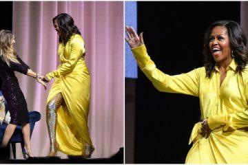 """მიშელ ობამა """"ბალენსიაგას"""" 4 ათას დოლარად ღირებულ ჩექმასა და ყვითელ კაბაში"""