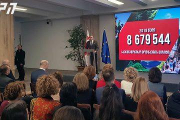 მამუკა ბახტაძე – 2018 წელს საქართველოში შემოსული საერთაშორისო ვიზიტორების რაოდენობამ 8 679 544 ადამიანი შეადგინა, რაც ახალი რეკორდია